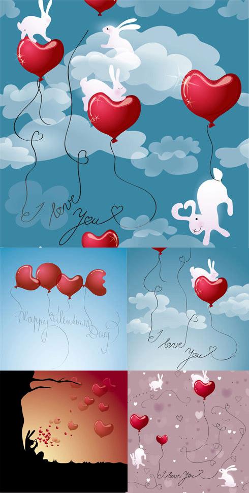 爱心气球玉兔天空背景矢量图