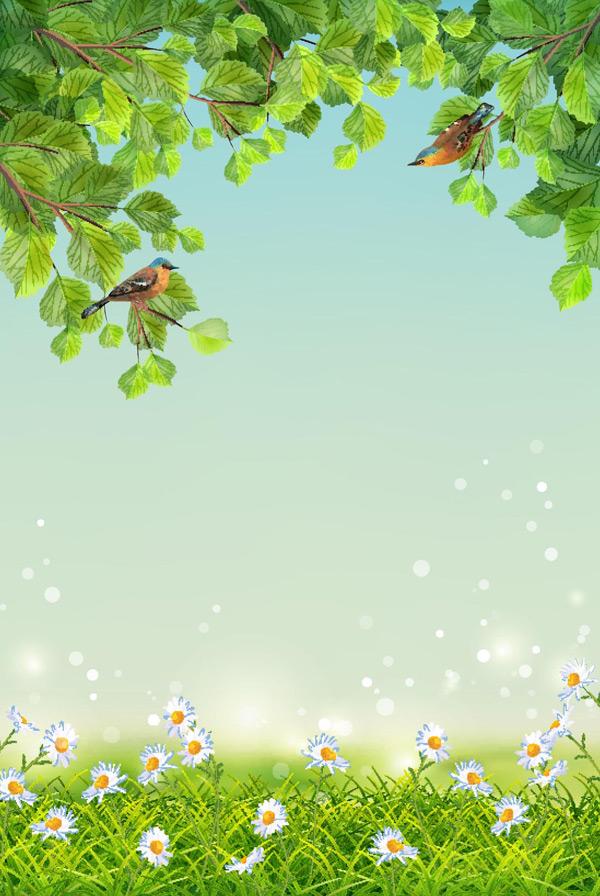 小草,鲜花,花朵,发光粒子,树枝,绿叶,枝条,小鸟,植物边框,唯美背景