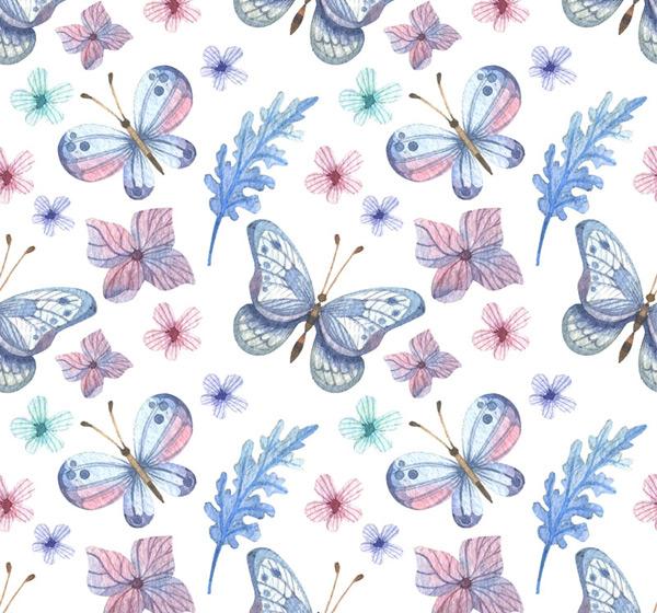 蝴蝶和花卉背景