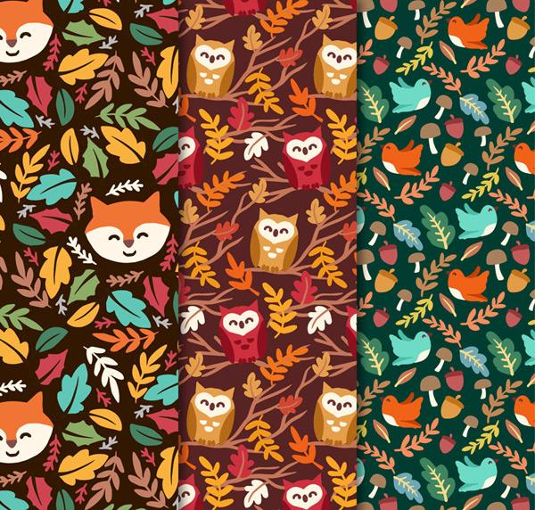 树叶和动物背景