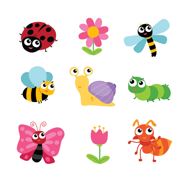 瓢虫,蜜蜂,蝴蝶,毛毛虫,蚂蚁,蜻蜓,昆虫,花卉,矢量图,eps格式 下载