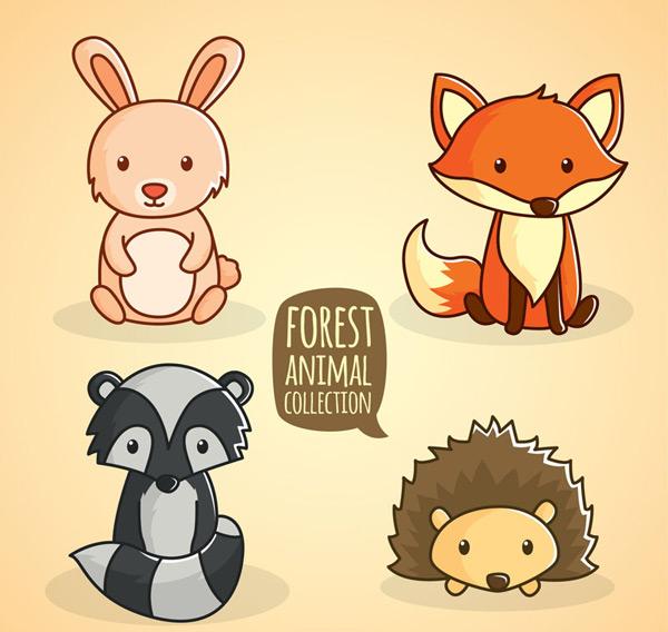 矢量卡通动物所需点数: 0 点 关键词: 可爱坐姿动物矢量素材,兔子,狐