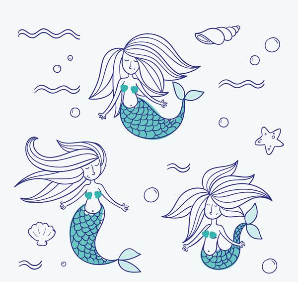 彩绘美人鱼矢量