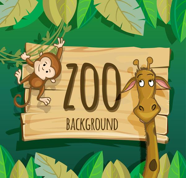 矢量卡通动物所需点数: 0 点 关键词: 可爱动物园动物长颈鹿和猴子矢