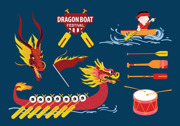 龙舟,划龙舟,矢量素材,龙船,中国元素,端午,端午节海报,卡通,龙,海浪