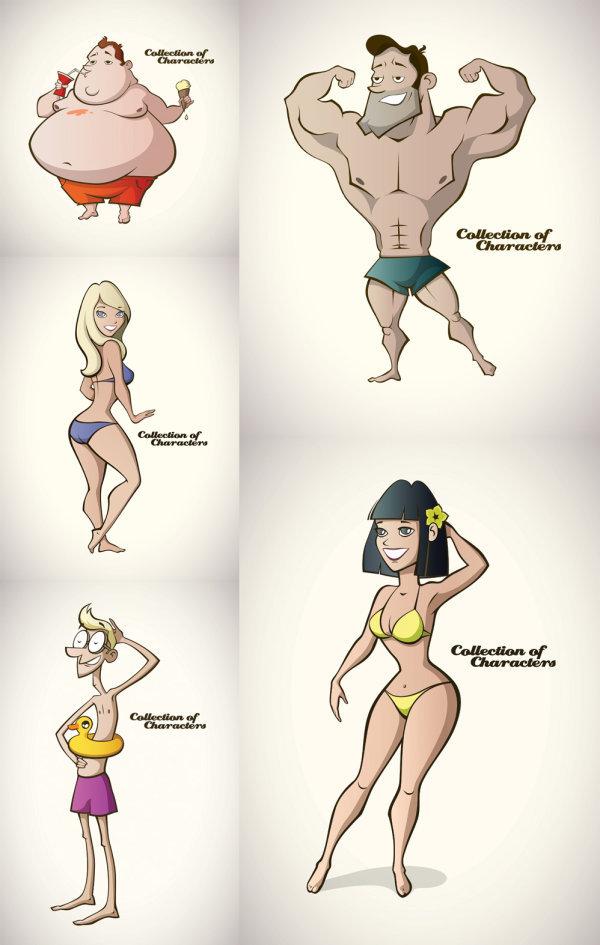 卡通夏季泳装人物