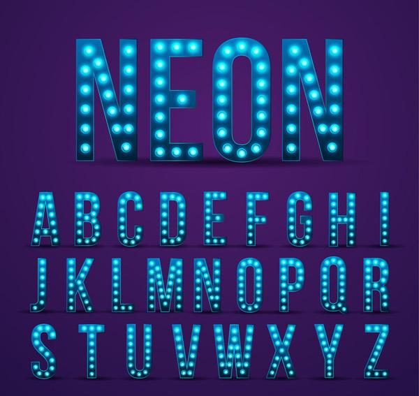 蓝色霓虹灯字母