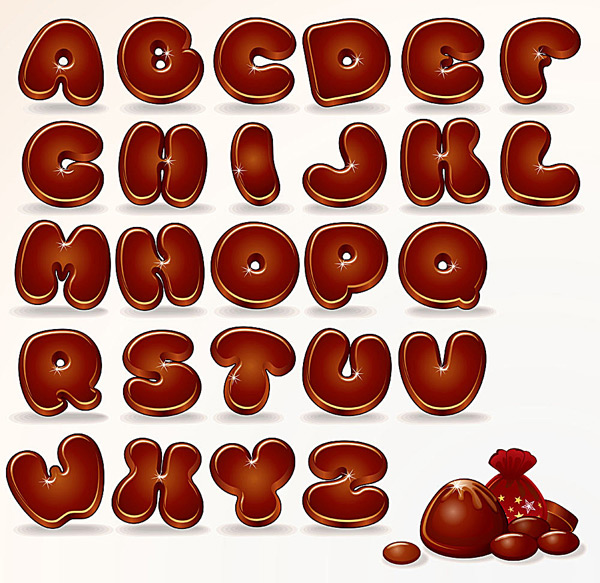 可爱的卡通字母