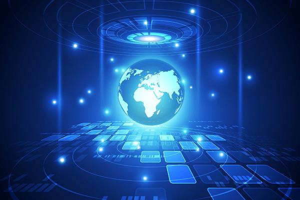 蓝色抽象全球信息科技背景矢量素材,抽象背景,线条,发光,空间,电路,通信,计算机,概念,连接,网络,空间,数字,电子,能源,工程,未来科技,全球,信息,图形,插图,互联网,激光,光线,科技,圆环,地图,科学,高科技,数码,蓝色科技背景,矢量素材