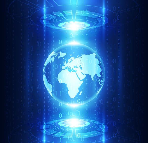 抽象全球数字信息科技背景矢量素材,抽象背景,线条,发光,空间,电路