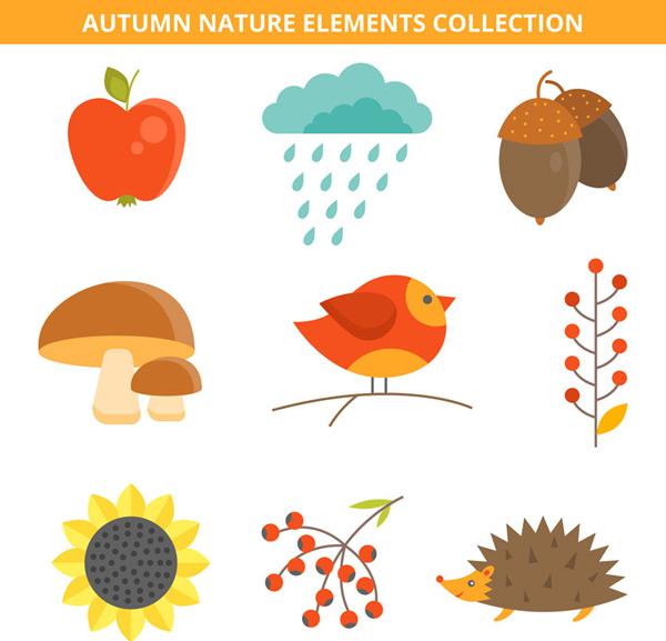 0 点 关键词: 可爱秋季自然元素矢量素材,苹果,雨,云,橡子,蘑菇,鸟