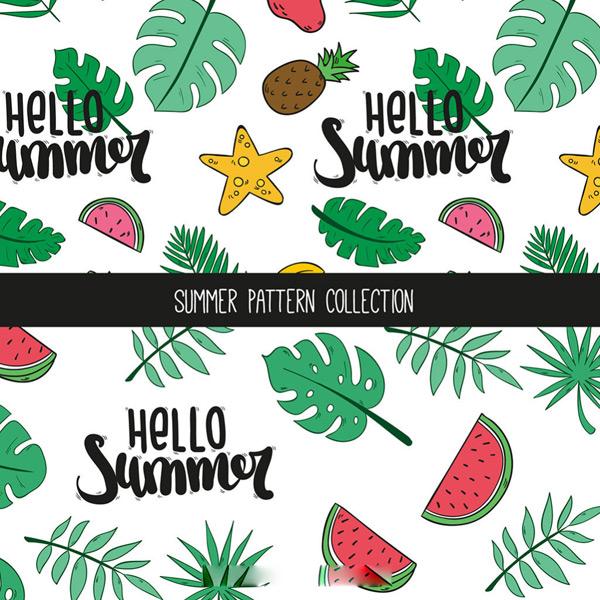 夏天水果棕榈叶图案,水果,图案,夏天,夏天,水果,棕榈叶,图案,树叶