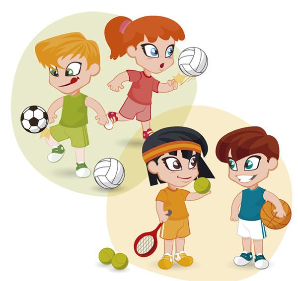运动的儿童,卡通人物,儿童,女孩,男孩,排球,足球,网球,篮球,体育,运动