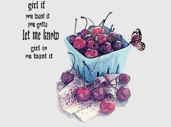 餐饮美食图片,樱桃,水果,蝴蝶,手绘樱桃,手绘蝴蝶,彩绘,水彩画,矢量