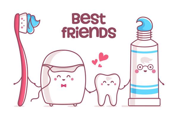 卡通牙齿护理