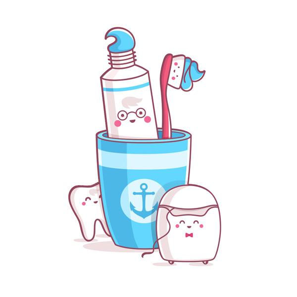 清洁用品,口腔清洁,健康护理,可爱卡通,图标,卫生用品,卡通插画,矢量