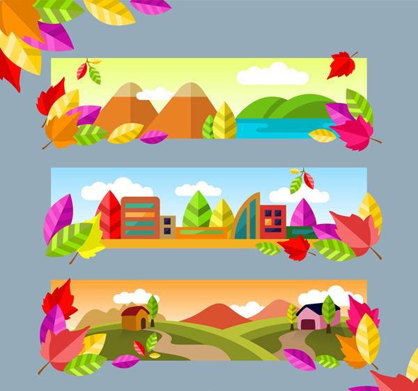 矢量自然风景所需点数: 0 点 关键词: 秋季自然风景banner矢量图,山