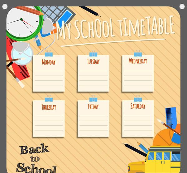 素材分类: 矢量学习用品所需点数: 0 点 关键词: 校园便条纸课程表