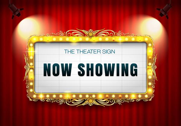 0 点 关键词: 红色帷幕前的射灯和金色花纹边框电影院招牌矢量素材
