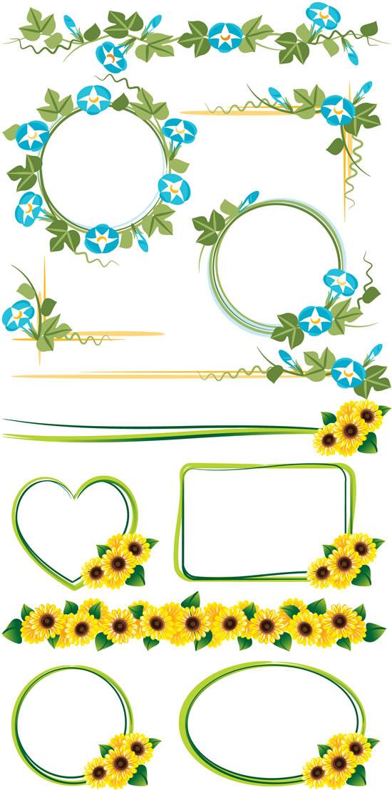 花卉藤蔓边框矢量图,花卉,藤蔓,边框设计,花朵,鲜花,绿叶,植物边框