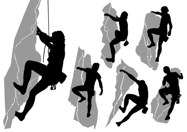 多款登山运动人物剪影矢量素材,登山,攀岩,崖壁,探险,绳子,男性,岩石