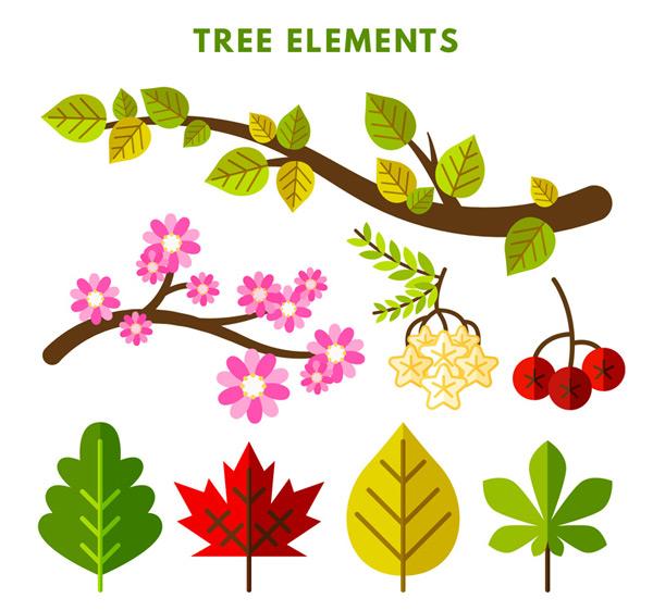 化花枝与叶子设计矢量图,花枝,花卉,树干,浆果,树叶,叶子,扁平化,植物