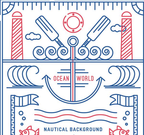 航海对称花纹背景矢量素材,旗子,救生圈,航海,海浪,灯塔,花纹,帆船,鱼