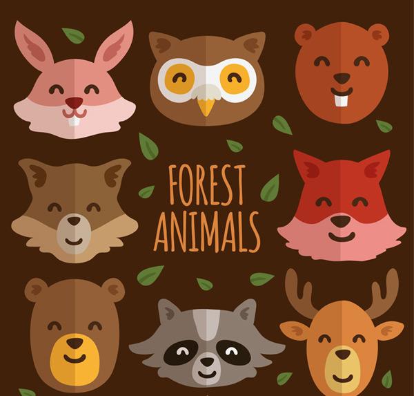 点 关键词: 可爱笑脸森林动物头像矢量图,叶子,兔子,猫头鹰,松鼠,浣熊