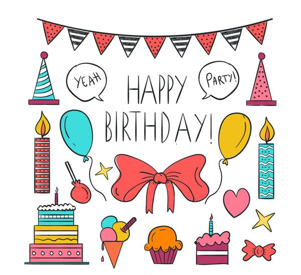 素材分类: 矢量生日所需点数: 0 点 关键词: 彩绘生日装饰物元素矢量