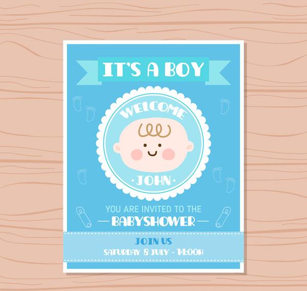 迎婴派对邀请卡