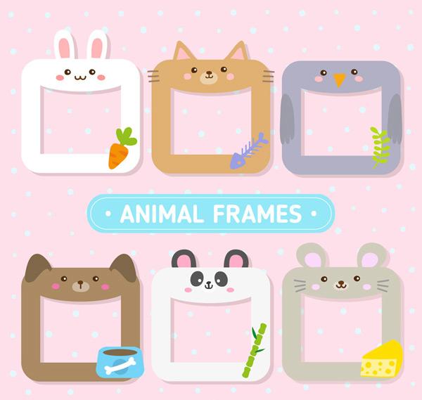 可爱动物框架矢量素材,兔子,胡萝卜,猫,鱼,鸟,叶子,狗,熊猫,老鼠,竹子,奶酪,框架,动物,矢量图,AI格式