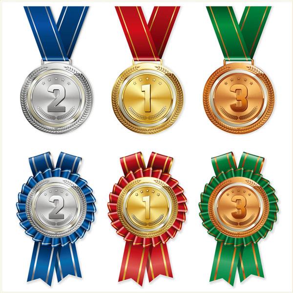 0 点 关键词: 多款奖牌徽章矢量素材,徽章,金色,高档,金属,标签,绶带