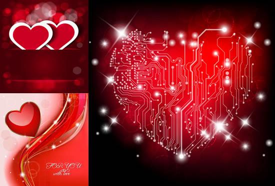 浪漫愛心,情人節背景,心形剪紙,水晶紅心,夢幻背景,心形電路,創意情人