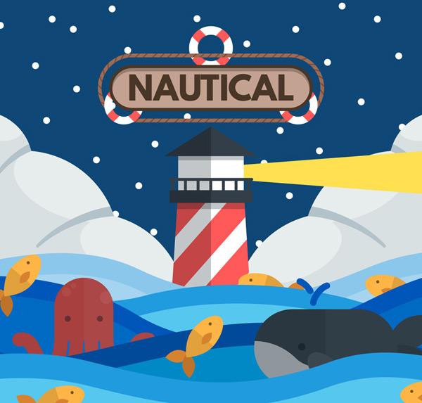 0 点 关键词: 卡通灯塔和海洋动物矢量图,鲸鱼,雪花,云,灯光,章鱼,鱼
