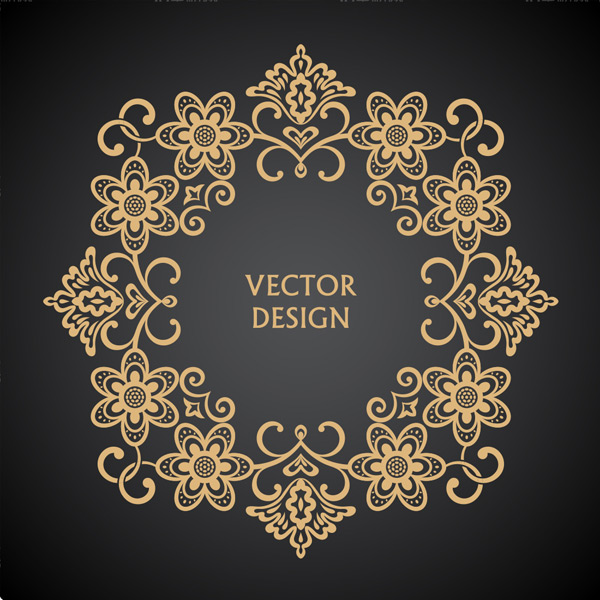 欧式高档金色圆形卷边花纹矢量素材,金色花纹,圆形花纹,花纹边框