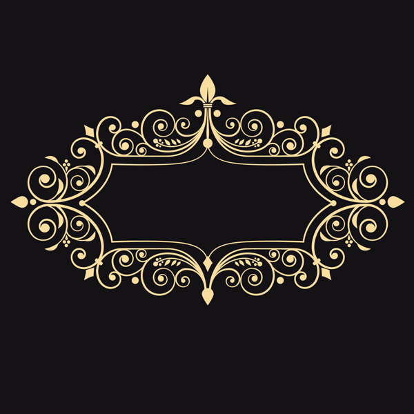 简约花纹边框矢量素材,金色花纹,圆形花纹,花纹边框,边框,花边,复古
