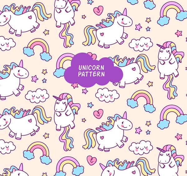 0 点 关键词: 可爱独角兽和云朵无缝背景矢量图,彩虹,爱心,童话,魔法