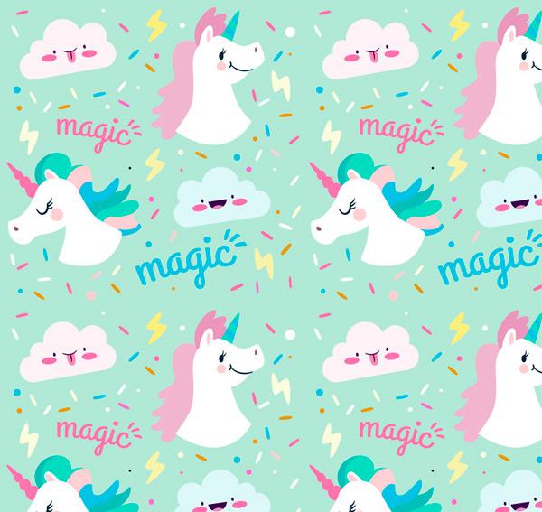童话,云朵,魔法,闪电,独角兽,无缝背景,动物,矢量图,ai格式 下载文件