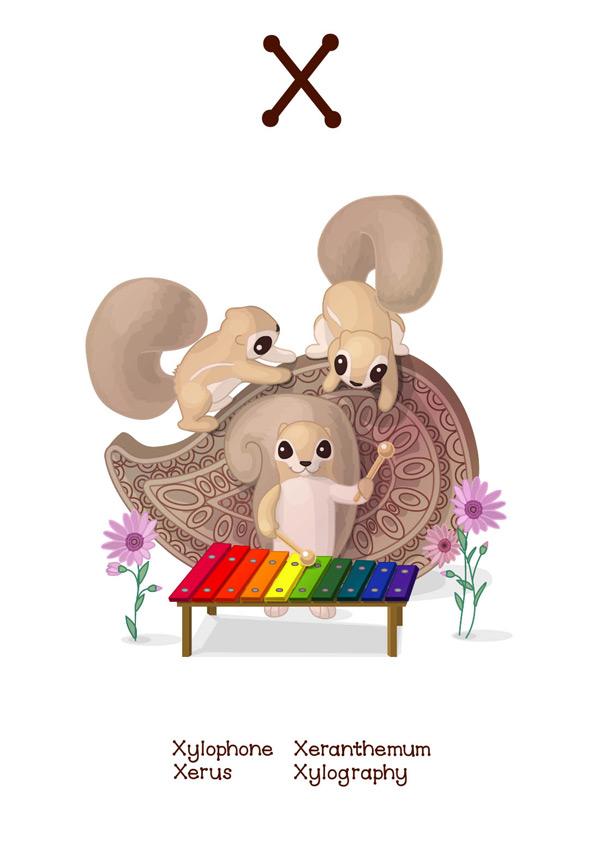 动物,卡通,可爱,卡片,插图,学习,拼写,图画,图案,阅读,单词,松鼠,乐器