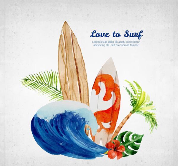 水彩绘冲浪元素集合矢量素材,棕榈树叶,冲浪,水彩,海浪,冲浪板,椰子