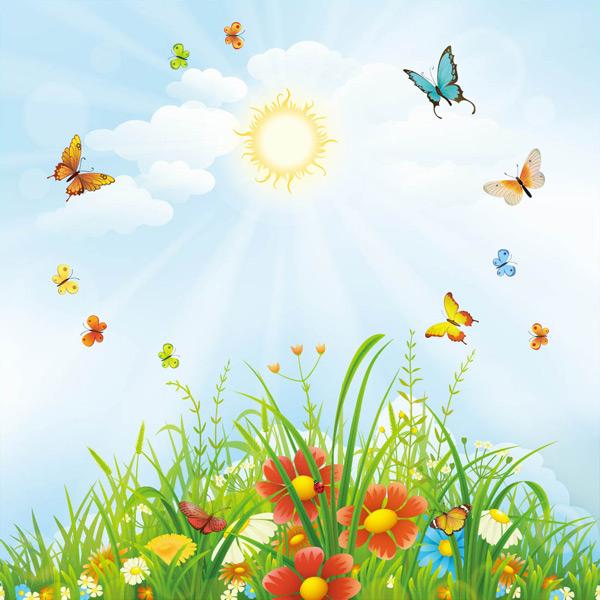 太阳,阳光,蝴蝶,鲜花,青草,草地,唯美,清新,春天,夏天,大自然,风景