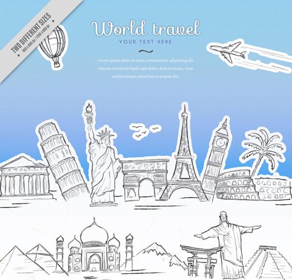 矢量建筑景观所需点数: 0 点 关键词: 手绘环球旅行标志建筑插画矢量