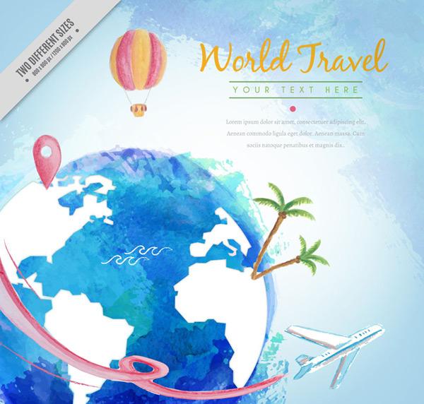 0 点 关键词: 水彩绘蓝色地球世界旅行插画矢量素材,环球,地球,椰子