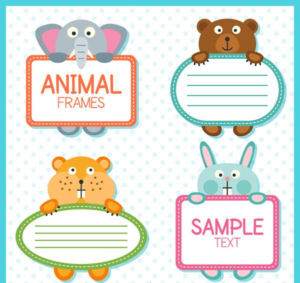 4款可爱动物手持框架矢量素材,大象,水玉点,熊,仓鼠,兔子,动物,边框