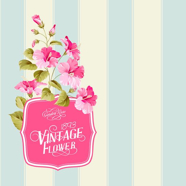 蓝色竖条纹,鲜花,花纹,植物,花卉,边框,简约,花朵边框,手绘,艺术风格