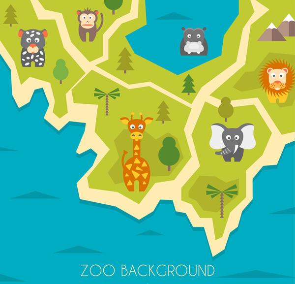 卡通矢量插画所需点数: 0 点 关键词: 创意动物园动物分布地图矢量