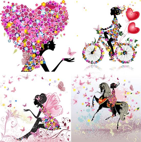0 点 关键词: 浪漫美女剪影矢量素材,鲜花,蝴蝶,美女剪影,自行车