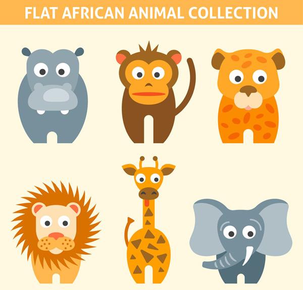 0 点 关键词: 6款扁平化卡通非洲动物矢量素材,河马,猴子,豹子,狮子