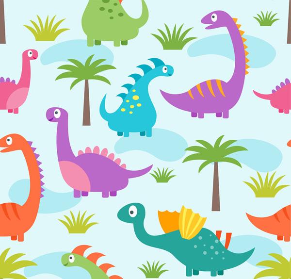 素材分类: 矢量背景所需点数: 0 点 关键词: 可爱恐龙和植物无缝背景