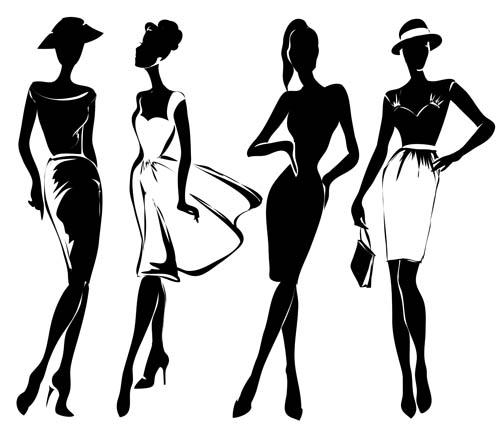 人物,黑白,性感,裙子,时尚,服饰,服装,帽子,剪影,裙子,裙装,模特,eps